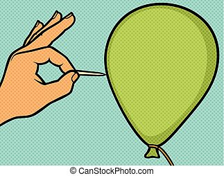 hand with a needle pierces the balloon pop art illustration