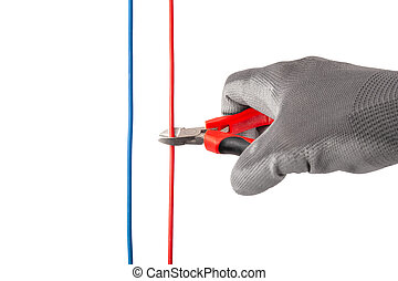 Hand With a Nipper Cutting Red Wire