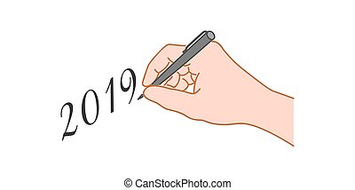 """Hand with a pen writing text """"2019""""."""