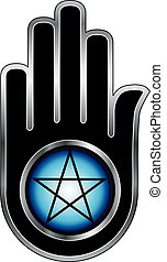 Hand with a Pentacle-Symbolizes both violence and non...
