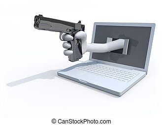 hand with a pistol put out from a notebook
