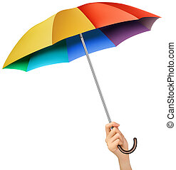 Hand with a rainbow umbrella. Vector.