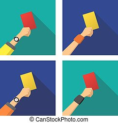 Hand with a red and yellow card of football