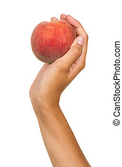 Hand with a red peach - Female hand with a red peach and...
