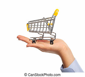 Hand with a shopping cart.