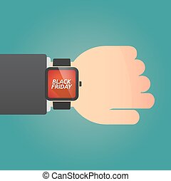 Hand with a smart watch and    the text BLACK FRIDAY