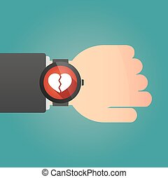 Hand with a smart watch displaying a heart - Illustration of...