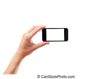 hand with a smartphone on white background isolated