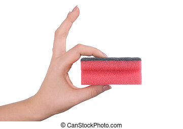 Hand with a sponge isolated