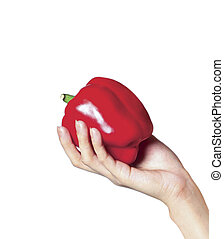 hand with a sweet pepper. isolated on white