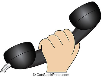 Hand with a telephone handset
