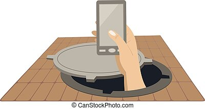 Hand with a telephone rising from the sewer manhole concept illustration