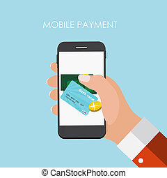 Hand with Abstract Phone and Mobile Payment Concept. Template in Modern Flat Style
