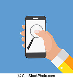 Hand with Abstract Phone and Search Icon. Template in Modern Flat Style