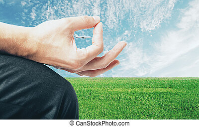 Hand with airplane on landscape background