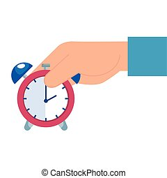hand with alarm clock time isolated icon