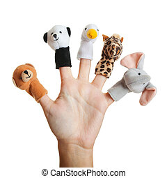 Hand with animal puppets - Female hand wearing 5 finger ...