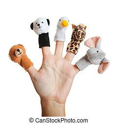 Female hand wearing 5 finger puppets; bear; panda; duck; giraffe; elephant