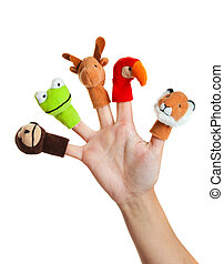 Female hand wearing 5 finger puppets; monkey, frog, reindeer, parrot; lion