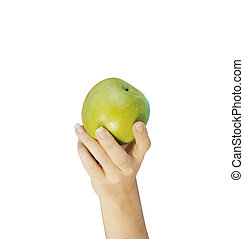 Hand with apple isolated on white background