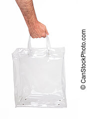 Hand With Bag - Human hand with transparent plastic bag,...