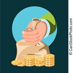 hand with bag of money