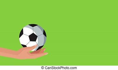 hand with balloon football soccer