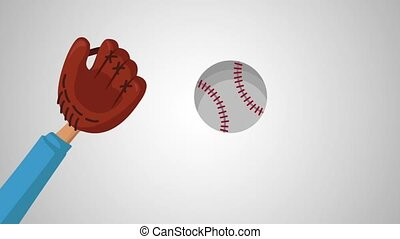 Hand with baseball glove catching a ball HD animation