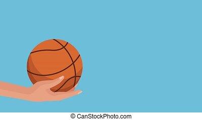 hand with basketball balloon  illustration design