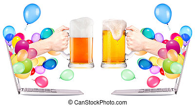 hand with beer and laptop