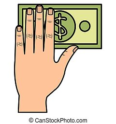 hand with bill dollar money icon