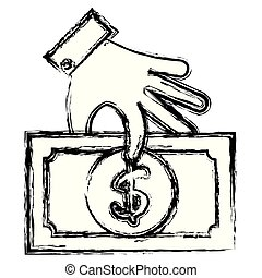 hand with bill dollar money icon