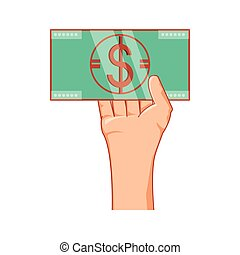 hand with bill dollar money isolated icon