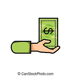 hand with bill dollar money