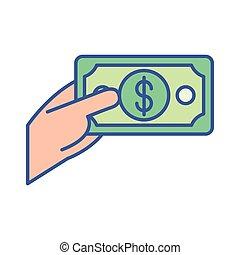 hand with bill money dollar