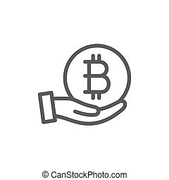 Hand with bitcoin coin, cryptocurrency line icon.