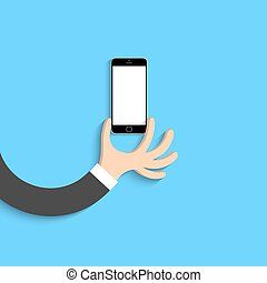 Hand with black smartphone in cartoon style