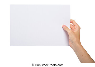 Hand with blank sheet of paper