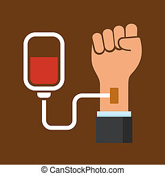 Hand with Blood Bag. Donation Icon. Vector
