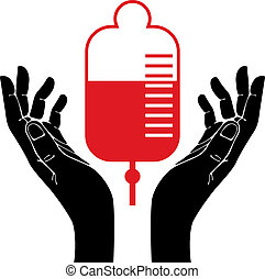 Hand with blood donation vector symbol.