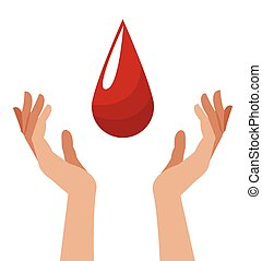 hand with blood drop image