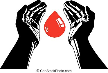 Hand with blood drop vector symbol.