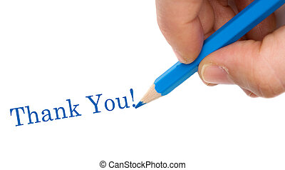 Hand with blue pen writing Thank You isolated over white