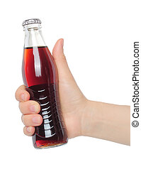 Hand with bottle of cola