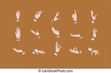 Hand with bracelets, rings in various positions mustard