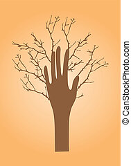 hand with branches