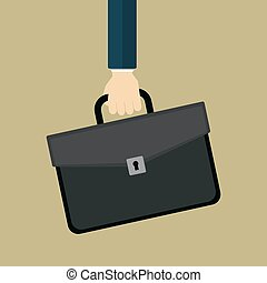Hand with briefcase.
