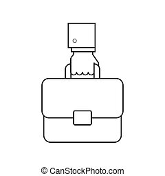 Hand with briefcase line icon