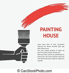 hand with brush. painting house concept