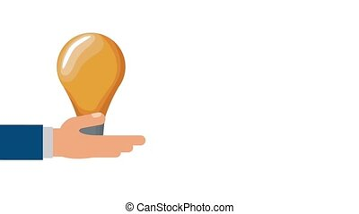 Hand with bulb HD animation - Hand holding a bulb...